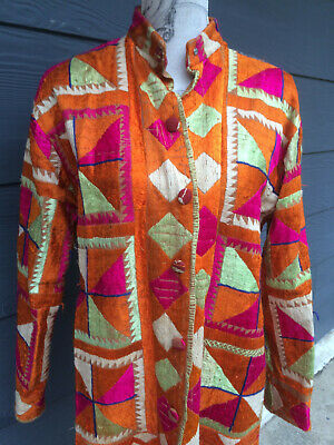 Vintage 60s/ 70s rare Indian embroidered coat - collectable - hippy original - L