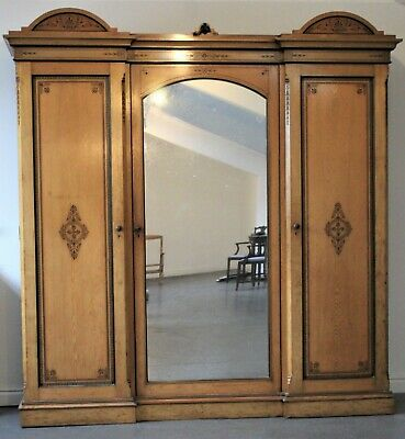 Fantastic Blonde Ash And Ebony Arts And Crafts Breakfront Triple Wardrobe