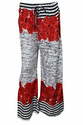 Boho Gypsy Hippy Casual Pant Wide Leg Red Floral Print Trendy Palazzo Pants