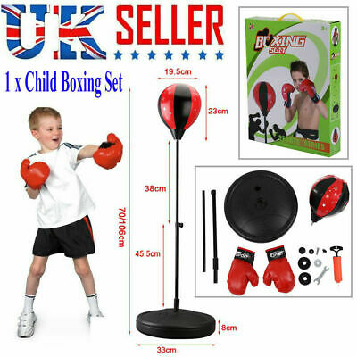 Punch Bag Ball Boxing Set And Mitts Gloves Kit Free Standing For Kids Play Gift