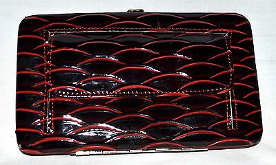 Black with Red Scalloped Edges Faux Patent Leather Organizer Clutch Bag