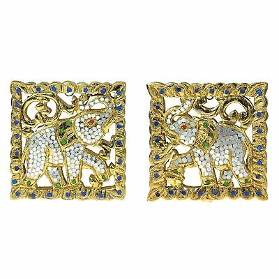Set of Two Thai Elephant Gilded 24k Gold Leaf Mosaic Carved Wood Wall Art