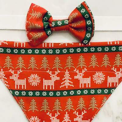 Nordic Holiday Sweater Pet Bow Tie & Scarf Set