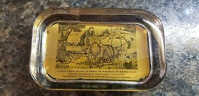Vintage Old Crow Whiskey Paperweight Crow Ships Barrel of Whiskey to Henry Clay