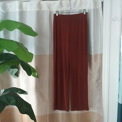 Chicos Travelers Size 1 Ladies Rust Brown Acetate Knit Straight Leg Pants