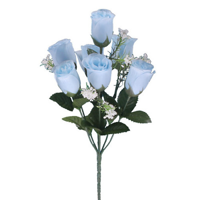 Artificial Silk Flowers Roses Bunch Of 7 Heads With Gypsophelia In Baby Blue