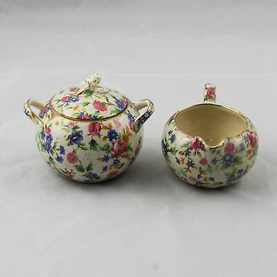 Old Royal Winton Grimwades Old Cottage Chintz Sugar Bowl & Creamer