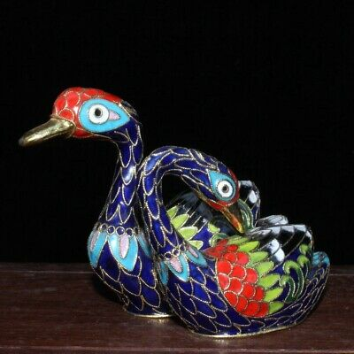 Collectable China Old Cloisonne Handwork Carve Mandarin Duck Elegant Rare Statue