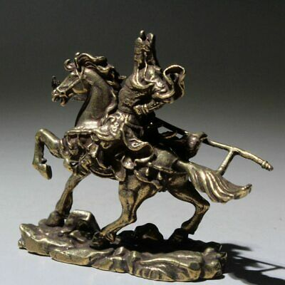 AAA Collectable Brass Handwork Carve China Guanyu Riding Horse Auspicious Statue