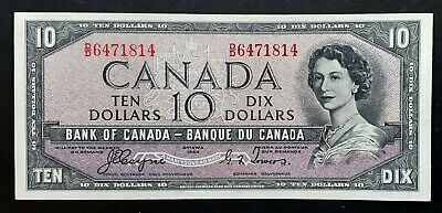 1954 BANK OF CANADA $10 Dollars *Coyne-Towers* Devil's Face D/D 6471814 BC-32a