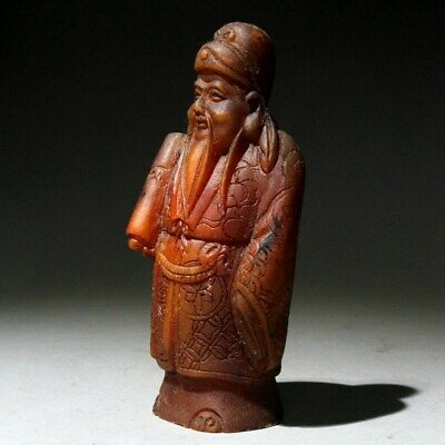 Collectable China Shoushan Stone Hand-Carved Ancient Officials Moral Luck Statue