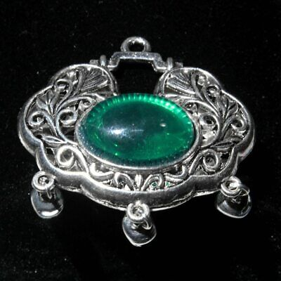 Collect Old Miao Silver Mosaic Agate Carve Hollow Out Bring Wealth Noble Pendant