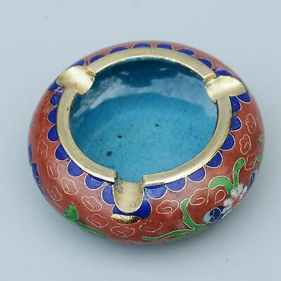 Collectable China Cloisonne Hand-Carved Beautiful Flowers Noble Delicate Ashtray