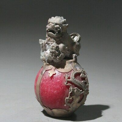 Collectable Chinese Old Miao Silver Armor Jade Handwork Carve Lovely Lion Statue