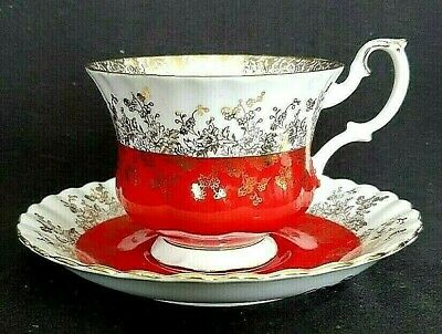 Royal Albert Regal Series Cup and Saucer White Red Gold England  #4396