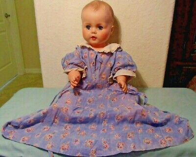 Antique Victorian silk girl doll dress blue floral white Embroidered Collar