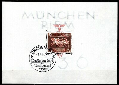 Germany 1937 Brown Ribbon Sheet Opted In Red  - Used