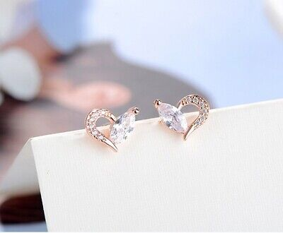 Heart Crystal Earrings Elegant 925 Silver Rose Stud Fashion Charm Jewelry UK