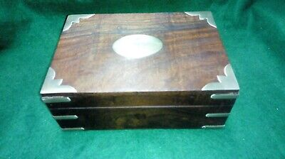 Hand Made Wooden trinket box with brass inlay and plaque