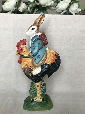"Dept. 56 Wood Hand Carved Hand Painted Bunny Rabbit on Rooster - 11"" tall"