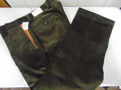 Orvis Dark Brown Super Cords Pants 34 x 28  Flat Front Leather Pocket Trim New