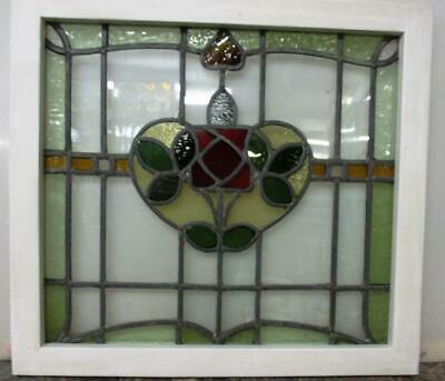 "MIDSIZE OLD ENGLISH LEADED STAINED GLASS WINDOW Lovely Square Rose 24.75""x22.75"""