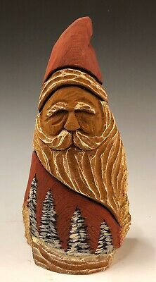 Hand Carved Santa  W/ Wood Burned trees From Cottonwood Bark