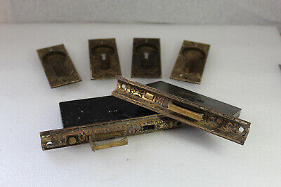 VTG Antique Hardware Double Pocket Door Locks Brass Ornate Eastlake Sargent & Co