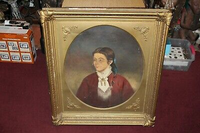 Antique 1800's Oil Painting Portrait Young Girl Custom Wood Frame Large