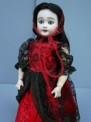 """Signed Antique French Bisque Head Doll on German Body 18"""" Limoges?"""