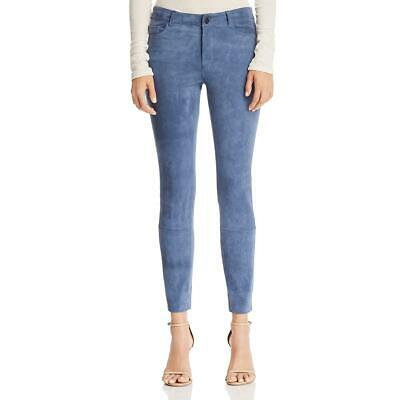 Theory Womens Blue Suede High Rise Ankle Skinny Pants Trousers 00 BHFO 3641