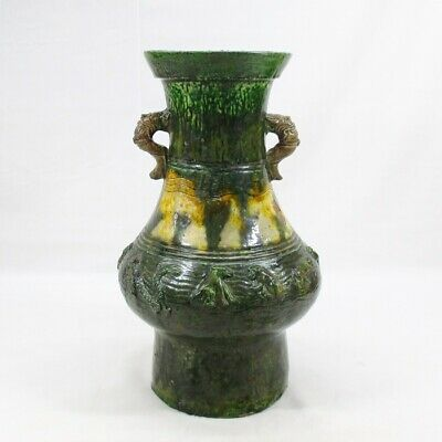 G816: Chinese flower vase of green glazed pottery of Han dynasty style