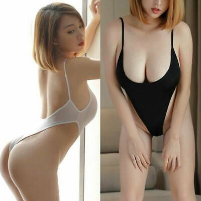 Sexy Women's Sheer See-through Perspective Mesh Bodysuit Leotard Thong Lingerie