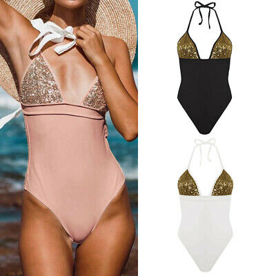 Sexy Womens Hot One Piece Halter Bikini Sequin Swimsuit Strappy Leotard Bodysuit