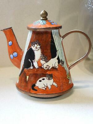 Hand Painted Cats - Miniature Collectable Enamel & Brass Teapot - for CAT Lovers