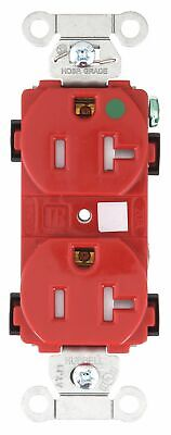 Bryant 20,  Hospital Grade,  Receptacle,  Red,  Yes Tamper Resistant Red  Nylon