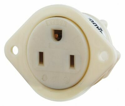 Bryant 15,  Commercial,  Flanged Receptacle,  White,  No Tamper Resistant White