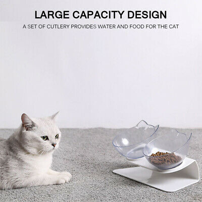 Cat Ears Shaped Cats Bowl Protect The Spine Pet Feeder Tilted Anti-slip HD