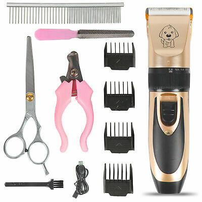 Electric Pet Dog Hair Shaver Grooming Quiet Clipper Trimmer Combs Scissor Kit UK