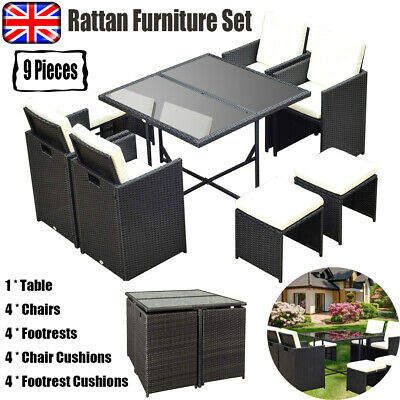 Rattan Garden Furniture 9Piece Patio Wicker Set Sofa Dining Table Chairs Outdoor