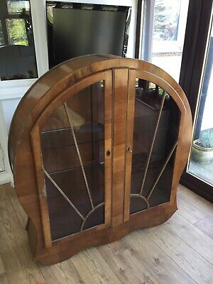 Art Deco walnut Veneered glass cabinet. In need of some restoration. See photos