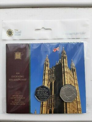 SOLD OUT Brexit 2 Coin Set. Royal Mint EEC Entry 1973 & 2020 Withdrawal From EU