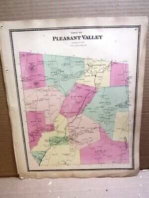 1867 Town Of Pleasant Valley Map, Dutchess County Ny Beers Atlas