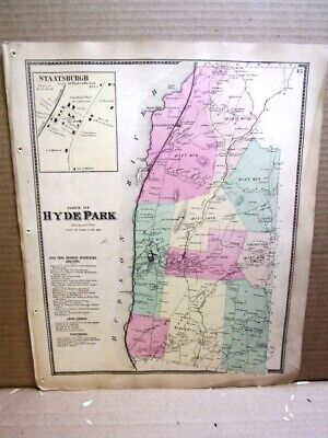 1867 Town Hyde Park Village Staatsburg Maps, Dutchess County Ny Beers Atlas