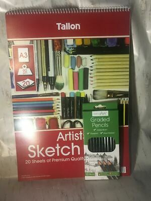 Large Art Kit Sketch Pad Draw Pad Watercolour Pencils Draw Create Sketch A3 Grad