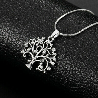 Womens silver Tree of Life Crystal CZ Cubic Zirconia Pendant Necklace Jewelry