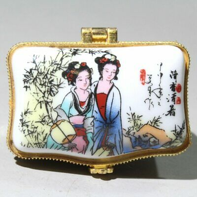 Collect China White Glazed Porcelain Hand-Painting Ancient Beauty Jewelry Box