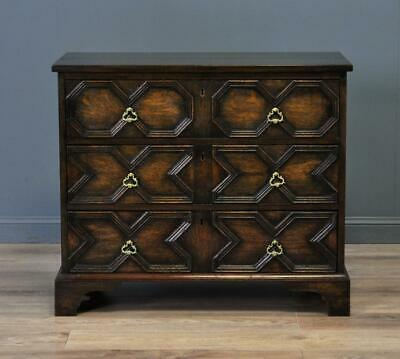 Attractive Antique Carved Jacobean Oak Chest Of Three Drawers