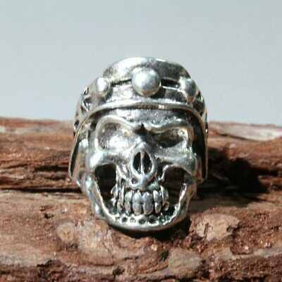 Collect Old Miao Silver Hand-Carved Skeleton Head Exorcism Amulet Decorate Ring