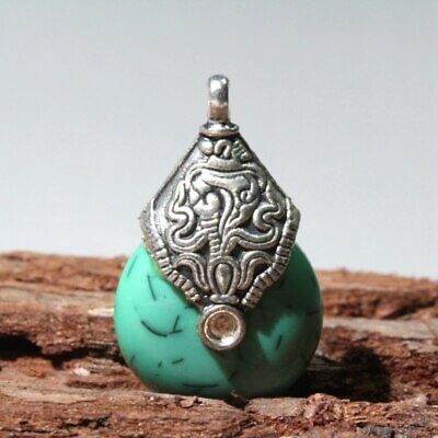 Collect China Old Miao Silver Armor Turquoise Carve Delicate Decorate Pendant